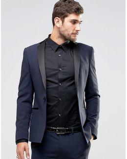 Super Skinny Tuxedo Suit Jacket In Navy