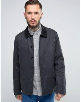 Waxed Jacket With Cord Collar In Black