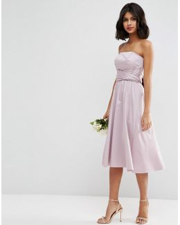 Wedding Structured Midi Dress With Bow Detail