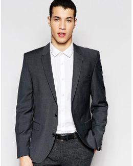 Slim Suit Jacket In Charcoal Wool Blend