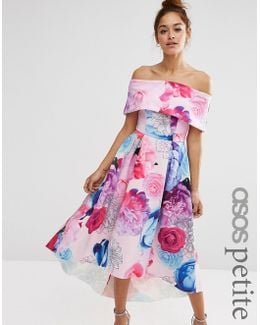 Placed Floral Dip Back Bardot Off Shoulder Maxi Dress