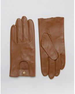 Leather Driving Gloves In Tan