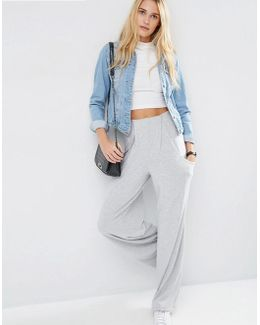 Slouch Wide Leg Trousers With Drop Pockets