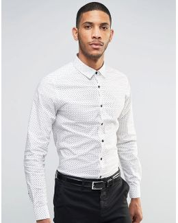 Skinny Shirt With Etch Print In White