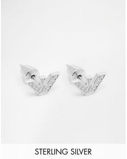 Eagle Stud Earrings With Crystals - Silver