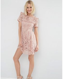 Lace Ruffle Yoke Skater Dress