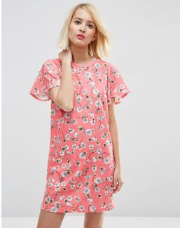 Ruffle Sleeve Shift Dress In Pretty Floral