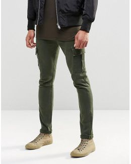 Super Skinny Jeans With Cargo Pockets In Khaki