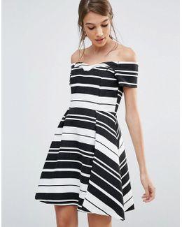 Textured Stripe Bardot Dress
