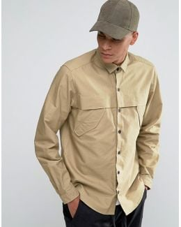 Military Shirt In Stone With Storm Flaps And Long Sleeves In Regular Fit