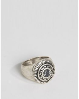 Embellished Signet Ring With Black Look Stone