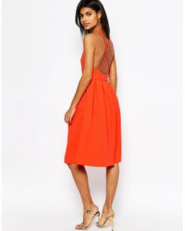 Bonded Mesh Midi Dress With Cross Back