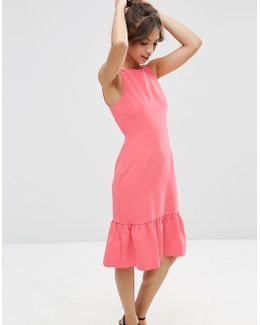Midi Dress With Structured Frill Hem