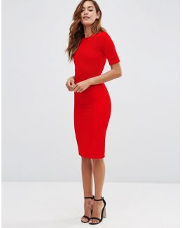 Seamed Structured Rib Bodycon Dress