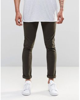 5 Pocket Super Skinny Trousers In Green Washed Effect