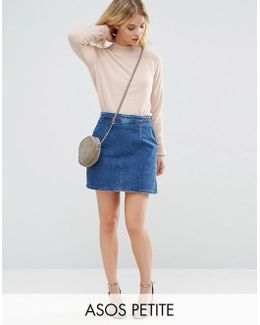Denim A Line Skirt In Mid Wash Blue