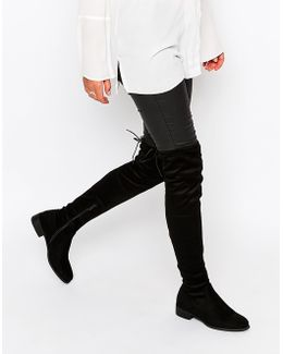 Black Flat Tie Back Over The Knee Boot