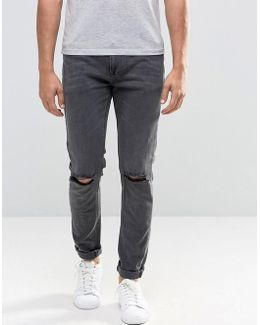 Skinny Jeans With Rips In Washed Black