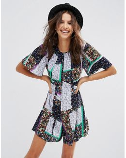 Flutter Sleeve Patchwork Ditsy Playsuit