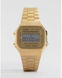 A168wg-9ef Gold Plated Digital Watch