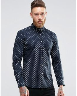 Skinny Shirt With Polka Dot In Navy
