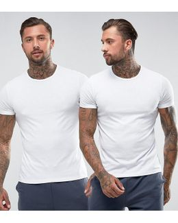 Cotton Crew Neck T-shirts 2 Pack In Muscle Fit