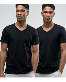 Cotton V-neck T-shirts 2 Pack In Regular Fit