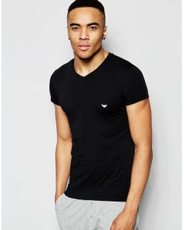 Cotton V-neck T-shirt In Muscle Fit