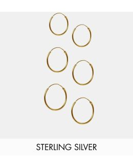 Pack Of 3 Gold Plated Sterling Silver Hoop Earrings