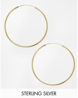 Gold Plated Sterling Silver 60mm Hoop Earrings