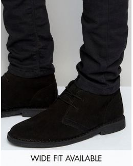 Desert Boots In Black Suede - Wide Fit Available