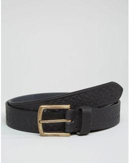 Slim Black Leather Belt With Vintage Emboss