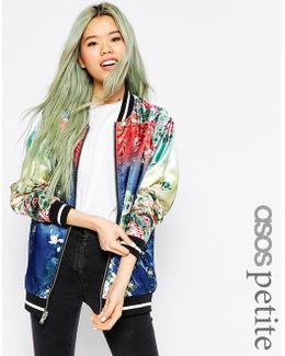 Bomber Jacket With Ombre Print Detail