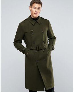 Wool Mix Belted Double Breasted Overcoat In Khaki