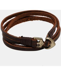 Double Wrap Leather Bracelet With Anchor In Brown