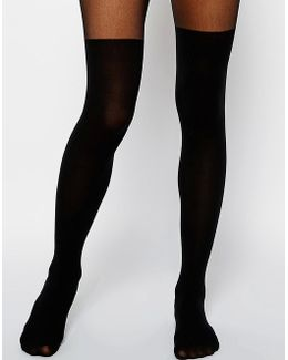 Mock Over The Knee Tights With Bum And Tum Support