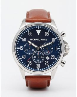 Gage Chronograph Brown Leather Strap Watch Mk8362