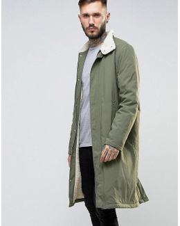 Borg Lined Trench With Funnel Collar In Khaki