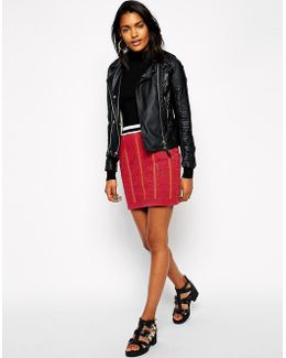 Mini Skirt With Embellished Check
