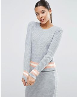 Co-ord Jumper In Rib With Stripe Detail