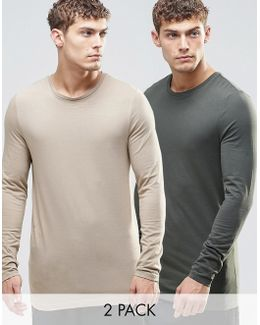 Longline Muscle Long Sleeve T-shirt 2 Pack Save 20%