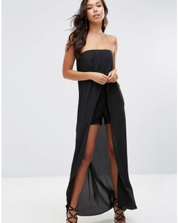 Bandeau Maxi Playsuit With Sheer Insert