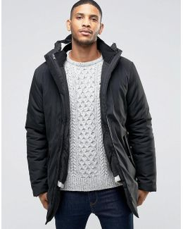Black Parka With Removable Cream Liner