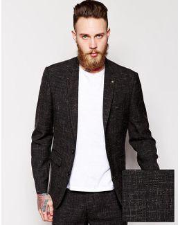 Slim Fit Suit Jacket In Crosshatch Fabric