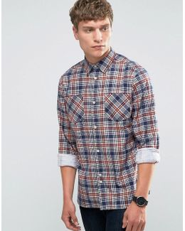 Printed Check Shirt With Double Pocket