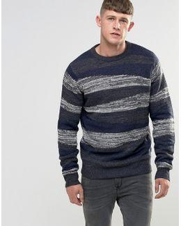 Block Pattern Twist Knitted Jumper