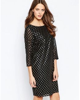 Brook Metallic Spot Dress With High Neck