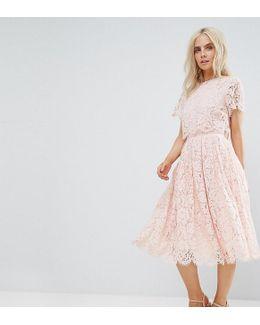 Lace Crop Top Midi Prom Dress