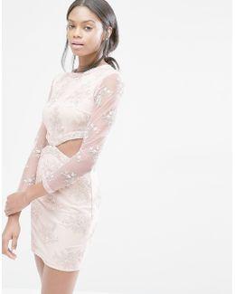 Floral Lace Cut Out Mini Dress
