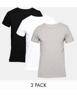 Stretch Crew Neck T-shirts In 3 Pack In Regular Fit